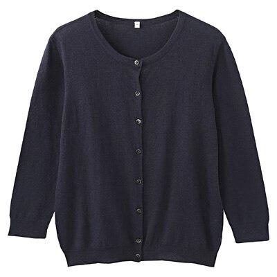 オーガニックコットン強撚UVカットクルーネックカーディガン(七分袖) 婦人M・紺