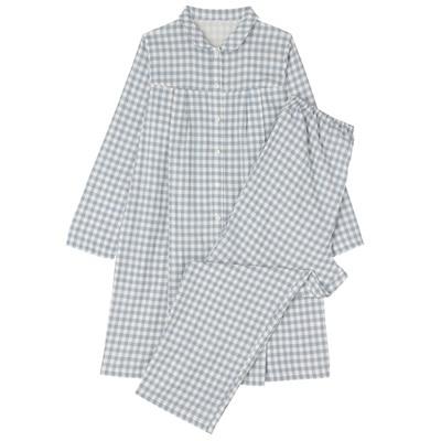 授乳に便利 綿二重ガーゼパジャマ(ロング)・長袖 マタニティM~L・Sブルー×チェック