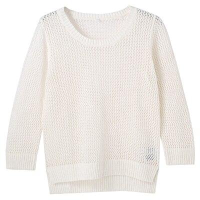 フレンチリネンコットンメッシュ編みセーター 婦人M・白