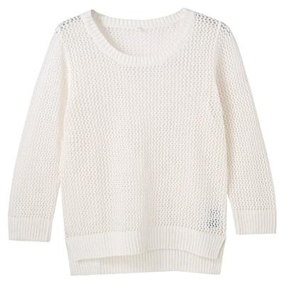 フレンチリネンコットンメッシュ編みセーター 婦人L・白