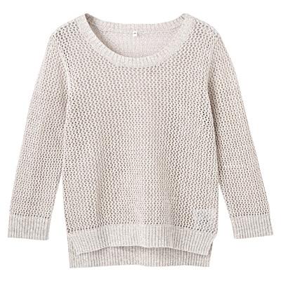 フレンチリネンコットンメッシュ編みセーター 婦人M・ベージュ