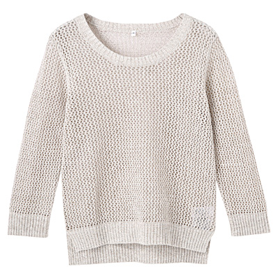 フレンチリネンコットンメッシュ編みセーター 婦人L・ベージュ