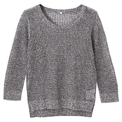 フレンチリネンコットンメッシュ編みセーター 婦人L・スモーキーブルー