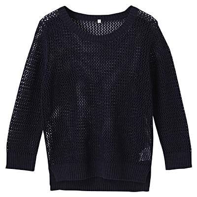 フレンチリネンコットンメッシュ編みセーター 婦人L・ネイビー