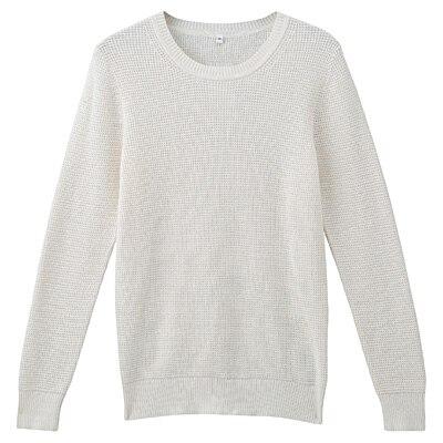 オーガニックコットンワッフル編みセーター 婦人S・オフ白
