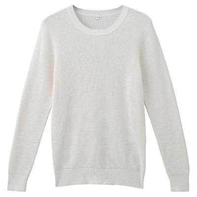 オーガニックコットンワッフル編みセーター 婦人L・オフ白