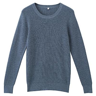 オーガニックコットンワッフル編みセーター 婦人M・スモーキーブルー