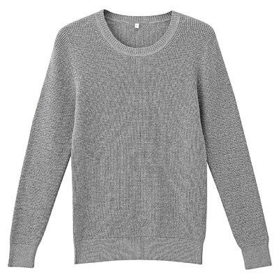 オーガニックコットンワッフル編みセーター 婦人M・グレー