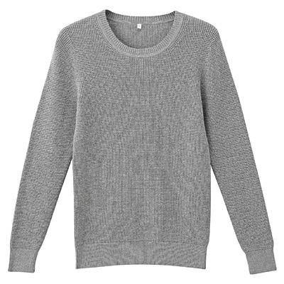 オーガニックコットンワッフル編みセーター 婦人L・グレー