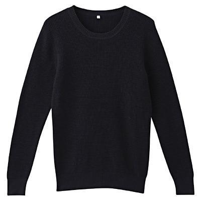 オーガニックコットンワッフル編みセーター 婦人S・ネイビー