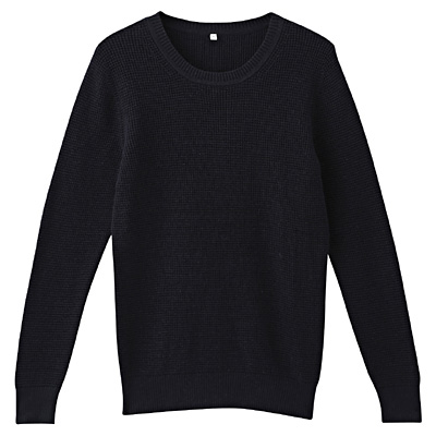 オーガニックコットンワッフル編みセーター 婦人M・ネイビー
