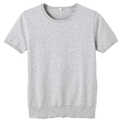 コットンシルク洗えるクルーネック半袖セーター 婦人S・ライトグレー