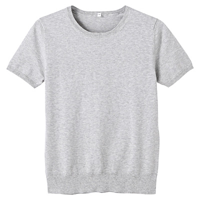 コットンシルク洗えるクルーネック半袖セーター 婦人L・ライトグレー