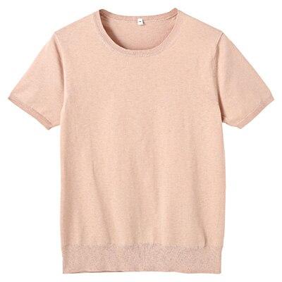コットンシルク洗えるクルーネック半袖セーター 婦人M・ベージュ