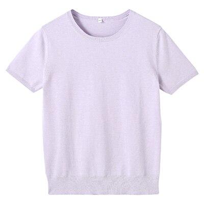 コットンシルク洗えるクルーネック半袖セーター 婦人M・ラベンダー