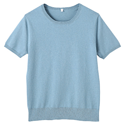 コットンシルク洗えるクルーネック半袖セーター 婦人S・ブルー
