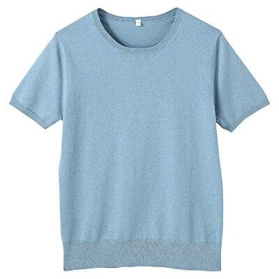 コットンシルク洗えるクルーネック半袖セーター 婦人M・ブルー
