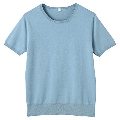 コットンシルク洗えるクルーネック半袖セーター 婦人L・ブルー