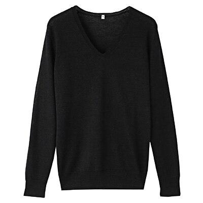 フレンチリネンUVカットVネックセーター 婦人L・黒