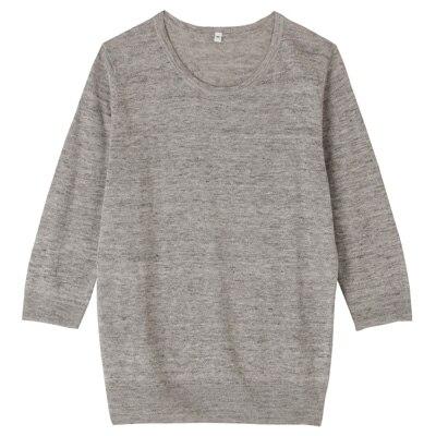 フレンチリネンUVカットクルーネックセーター(七分袖) 婦人L・グレー