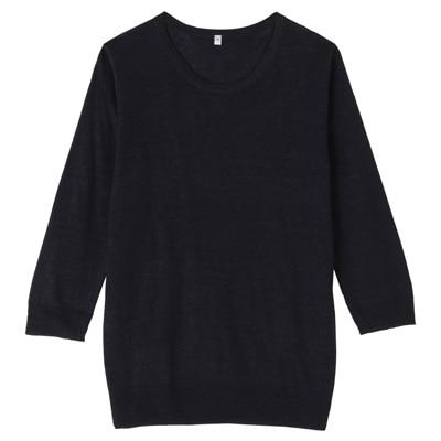 フレンチリネンUVカットクルーネックセーター(七分袖) 婦人L・ネイビー
