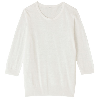 フレンチリネンUVカットクルーネックセーター(七分袖) 婦人S・白