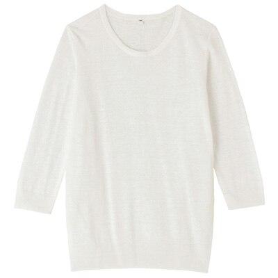 フレンチリネンUVカットクルーネックセーター(七分袖) 婦人L・白