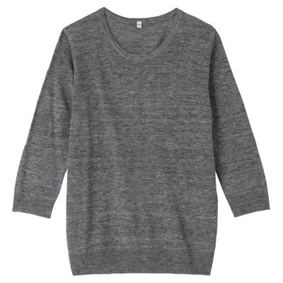フレンチリネンUVカットクルーネックセーター(七分袖) 婦人M・チャコールグレー