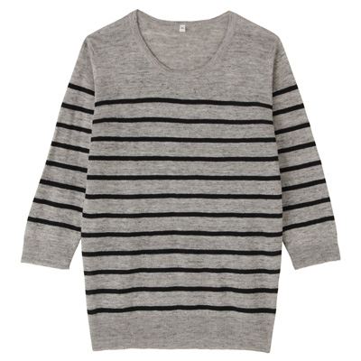 フレンチリネンUVカットクルーネックセーター(七分袖) 婦人L・グレー×ボーダー