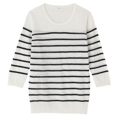 フレンチリネンUVカットクルーネックセーター(七分袖) 婦人M・白×ボーダー