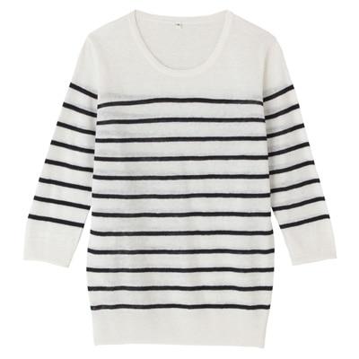 フレンチリネンUVカットクルーネックセーター(七分袖) 婦人L・白×ボーダー