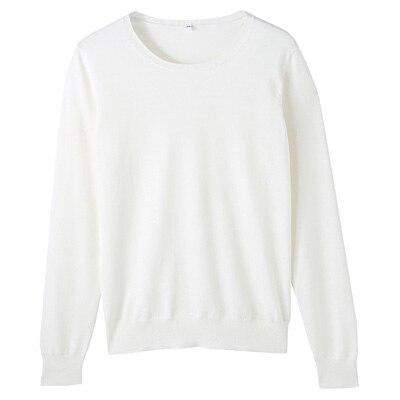 コットンシルク洗えるクルーネックセーター 婦人S・白