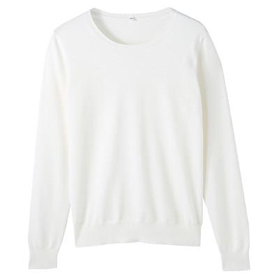 コットンシルク洗えるクルーネックセーター 婦人M・白