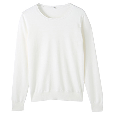 コットンシルク洗えるクルーネックセーター 婦人L・白