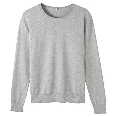 コットンシルク洗えるクルーネックセーター 婦人L・ライトグレー