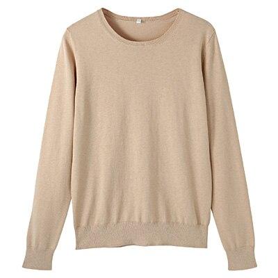 コットンシルク洗えるクルーネックセーター 婦人S・ベージュ
