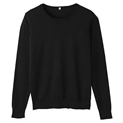 コットンシルク洗えるクルーネックセーター 婦人M・黒