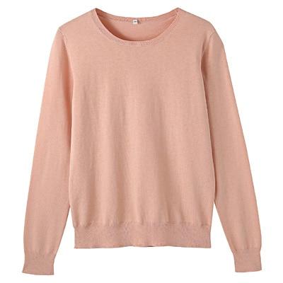 コットンシルク洗えるクルーネックセーター 婦人M・ピンク