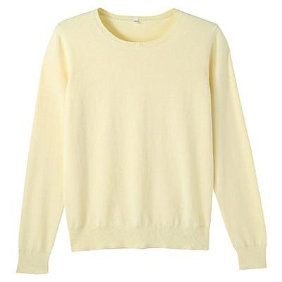 コットンシルク洗えるクルーネックセーター 婦人L・ライトイエロー