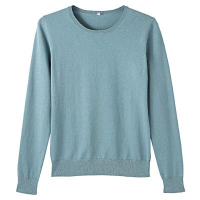 コットンシルク洗えるクルーネックセーター 婦人S・ブルー