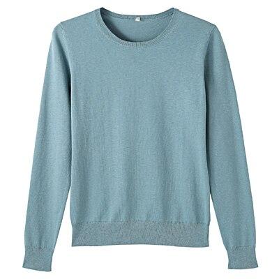 コットンシルク洗えるクルーネックセーター 婦人L・ブルー