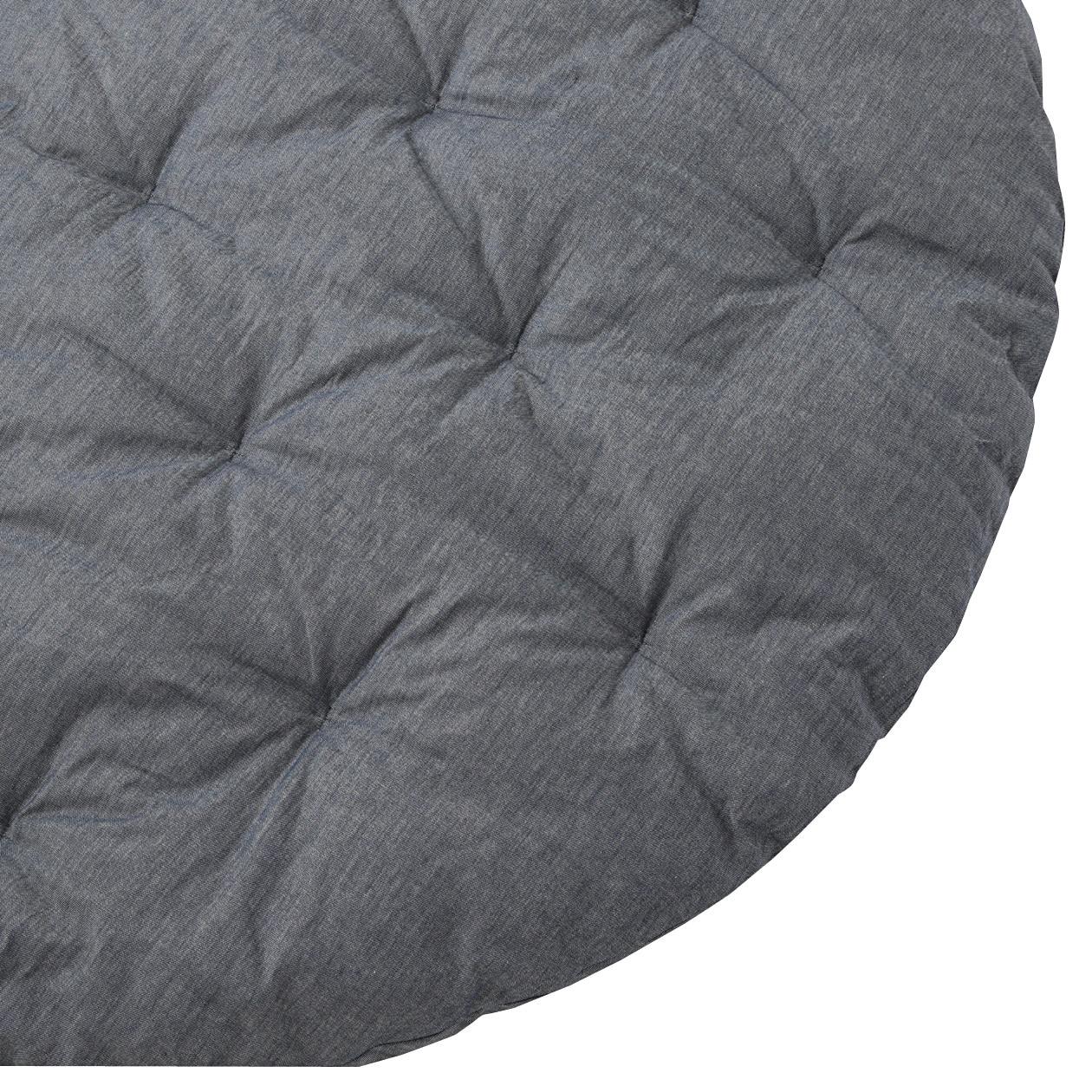 【店舗限定】綿デニムキルティングラグ・丸/ブルー 円・直径130cm