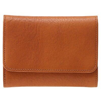ヌメシュリンク革三つ折り財布 キャメル