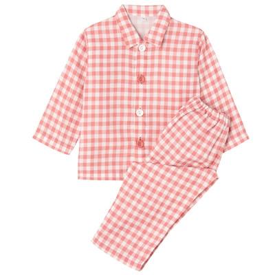 綿二重ガーゼお着替えパジャマ・長袖(ベビー) ベビー80・ピンク×チェック