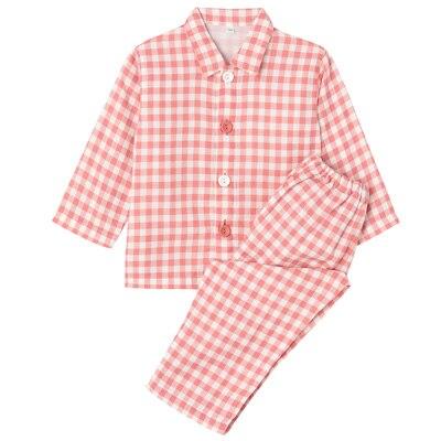 綿二重ガーゼお着替えパジャマ・長袖(ベビー) ベビー100・ピンク×チェック