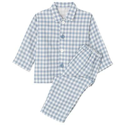 綿二重ガーゼお着替えパジャマ・長袖(ベビー) ベビー80・サックスブルー×チェック