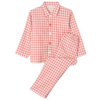 綿二重ガーゼお着替えパジャマ・長袖(キッズ) キッズ110・ピンク×チェック