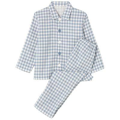 綿二重ガーゼお着替えパジャマ・長袖(キッズ) キッズ110・サックスブルー×チェック