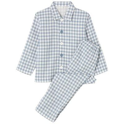 綿二重ガーゼお着替えパジャマ・長袖(キッズ) キッズ120・サックスブルー×チェック