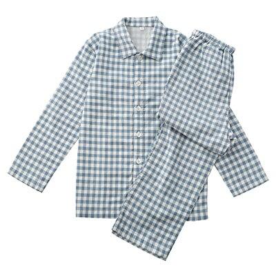 綿二重ガーゼパジャマ・長袖(キッズ) キッズ140・サックスブルー×チェック